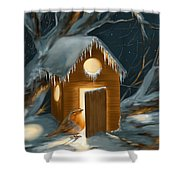 Christmas Robin Shower Curtain