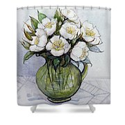 Christmas Roses Shower Curtain by Gillian Lawson