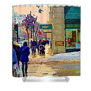 Christmas Shoppers Ogilvys Enchanted Village Window Display A Montreal Xmas Tradition Carole Spandau Shower Curtain