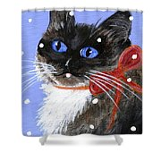 Christmas Siamese Shower Curtain