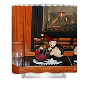Christmas - Snowmen Collection- Fireplace Shower Curtain