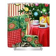Christmas Tea Shower Curtain