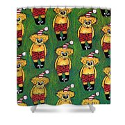 Christmas Teddies Shower Curtain
