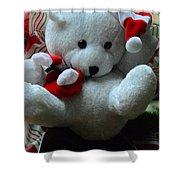 Christmas Teddy Bear Shower Curtain