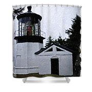 Christmas Time At Cape Meares Lighthouse Shower Curtain