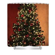 Red And Gold Christmas Tree Without Caption Shower Curtain