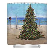 Christmas Tree At The Beach Shower Curtain