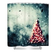 Christmas Tree Glowing On Winter Vintage Background Shower Curtain