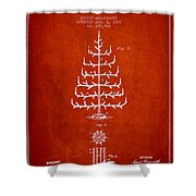 Christmas Tree Patent From 1882 - Red Shower Curtain