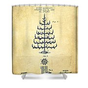 Christmas Tree Patent From 1882 - Vintage Shower Curtain