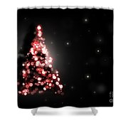 Christmas Tree Shining On Black Background Shower Curtain