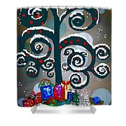 Christmas Tree Swirls And Curls Shower Curtain