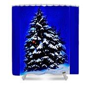 Christmas Tree With Red Ball Shower Curtain