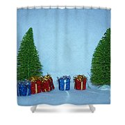 Christmas Trees With Red And Blue Presents Shower Curtain