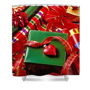 Christmas Wrap With Heart Ornament Shower Curtain
