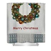 Christmas Wreath And Vintage Bulbs Shower Curtain