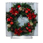 Christmas Wreath Greeting Card Shower Curtain