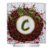 Christmas Wreath Initial C Shower Curtain