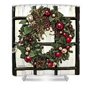 Christmas Wreath On Black Door Shower Curtain