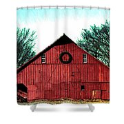 Christmas Wreath On Red Barn Shower Curtain