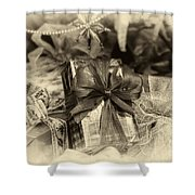 Christmasgift Under The Tree In Sepia Shower Curtain