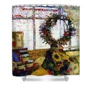 Christmastime Folk Art Fantasia Shower Curtain
