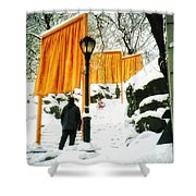 Christo - The Gates - Project For Central Park In Snow Shower Curtain