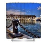 Christopher Columbus Park Waterfront Shower Curtain by Joann Vitali