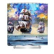 Christopher Columbus's Fleet  Shower Curtain