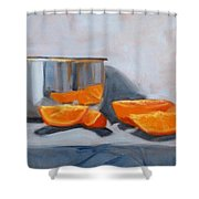 Chrome And Oranges Shower Curtain