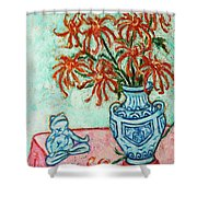 Chrysanthemum And Frog Shower Curtain