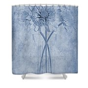 Chrysanthemum Cyanotype Shower Curtain