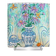 Chrysanthemum Study With Chinese Symbols  Shower Curtain