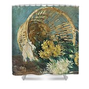 Chrysanthemums Or The Overturned Basket Shower Curtain