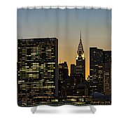 Chrysler And Un Buildings Sunset Shower Curtain