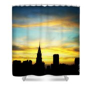 Chrysler Skyline With Incredible Sunset Shower Curtain