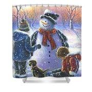 Chubby Snowman  Shower Curtain