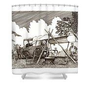 Chuckwagon Cattle Drive Breakfast Shower Curtain