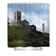 Church And Castle In Puente De Montanana  Shower Curtain