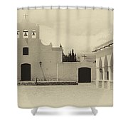 Church And Courtyard Argentina Shower Curtain