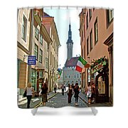 Church At End Of Street In Old Town Tallinn-estonia Shower Curtain