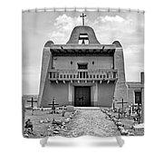 Church At San Ildefonso - Bw Shower Curtain