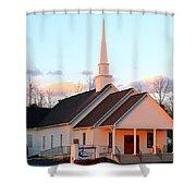 Church At Sunset Shower Curtain