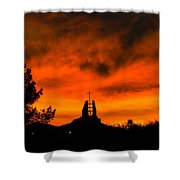 Church Cross Lit By Tucson Sunset Shower Curtain