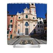 church in Sori. Italy Shower Curtain