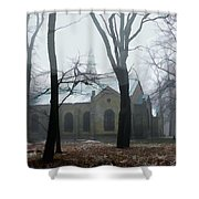 Church In The Misty Woods Shower Curtain