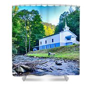 Church In The Mountains By The River Shower Curtain