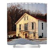 Church In Winter Sunset Shower Curtain