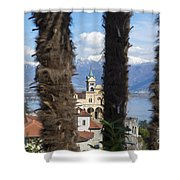 Church Madonna Del Sasso Shower Curtain