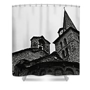 Church Of The Assumption Of Mary In Bossost - Abse And Tower Bw Shower Curtain